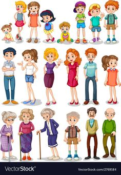 Illustration of Illustration of a set of family vector art, clipart and stock vectors. Family Clipart, Family Vector, Ecole Art, Family Set, Cousin Family, Family Illustration, Banner Printing, Image Photography, Vector Art