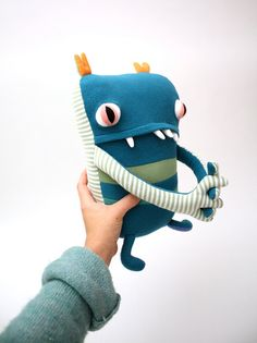 Gift Idea - Squat Little Monster by cottonmonster ($58.00). Made from recycled clothes, blankets, etc.