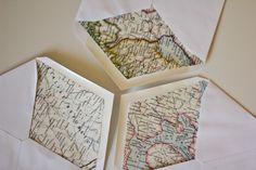 Old maps lined in envelopes