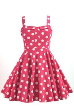 This full skirted pinup style polka dot dress features a fitted waist line, sweetheart bust, bow tie in back and zipper closure. Super cute style and can be dressed up or down. Made in the USA