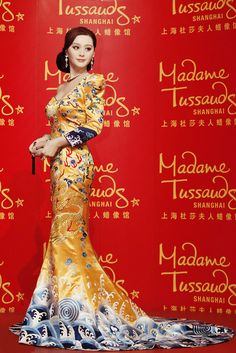 golden embiroidery cheongsam gown - Fan Bingbing