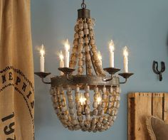 Chandelier made from strings of beads from antique shop at Shades of Light