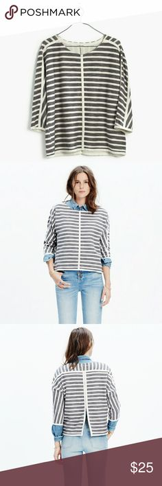 Madewell striped back zip pullover gray white S Cotton, boxy fit Madewell pullover sweatshirt in gray and white. Back zip to show off. Terry-feeling 100% cotton. Machine wash. Madewell Tops