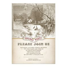vintage winter holiday party invitations   Click on photo to purchase. Check out all current coupon offers and save! http://www.zazzle.com/coupons?rf=238785193994622463&tc=pin