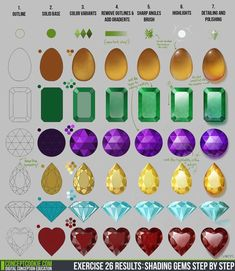 #Gems #Tutorial #Amber #Emerald #Amethyst #Diamond #Ruby #Orange #Yellow #Red #Green #Purple #Blue