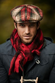 Vintage plaid cap, red plaid scarf and hooded overcoat -