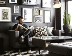 IKEA LANDSKRONA skinnsoffa i svart skinn.