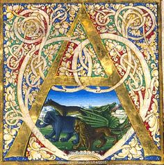 Initial A, from Pliny's Natural History. Italy, mid-15th century