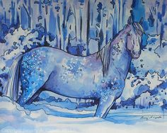 """Dappled Blue by Beverly Caputo Watercolor ~ 10"""" x 12"""""""