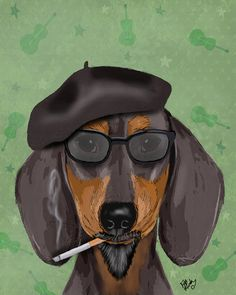 14x11 Hipster Dachshund Print Black Tan Doxie poster by LoopyLolly, $36.00