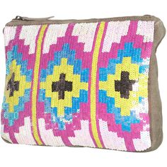 Aztec Sequin Clutch Bag ($84) via Polyvore