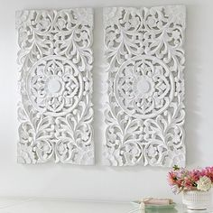 Lennon & Maisy Ornate Wood Carved Wall Art, Set of 3 | PBteen