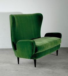 Anonymous; Lacquered Wood and Velvet Sofa, c1955.