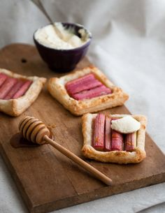rhubarb puff pastry tarts with orange honey fromage blanc