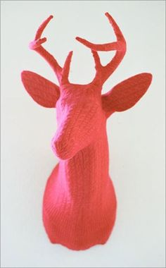 knitted stag head by Rachel Denny