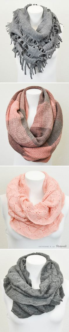 Cute and Versatile Infinity Scarves in Pinks and Greys