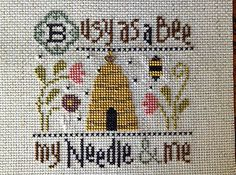 completed cross stitch Lizzie Kate Busy as a BEE