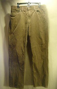 VINTAGE Men's Polo Ralph Lauren Dungarees Brown Corduroy Pants/Jeans 36x30