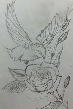 68 Trendy Tattoo Rose Drawing Coloring Pages Pencil Drawings Of Flowers, Bird Drawings, Pencil Art Drawings, Art Drawings Sketches, Lilies Drawing, Fabric Birds, Bird Prints, Fabric Painting, Print Tattoos