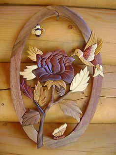 Rose & Hummingbird Intarsia Wood Art - Wood Decor Wall Hanging - NEW