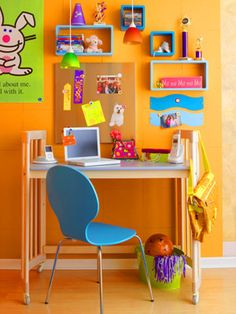 Wall shelves for kids room desk areas 37 Ideas