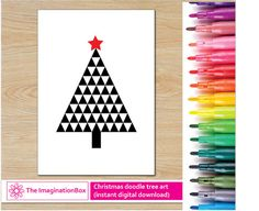 Modern geometric Christmas Tree colouring page by ImaginationBoxStore. Just add colour.