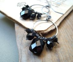Black Crystal Hoop Earrings Oxidized Sterling Wire Wrapped Metalworked Holiday Jewelry Winter Party Jewelry New Years Gifts Under 50
