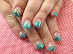 Nail Art Photo Taken at:02/08/2013 14:24:14 Nail Art Photo Uploaded at:02/08/2013 20:52:51 Nail Technician:Elaine Moore Description: Acrylic nails with teal glitter fade  @ www.eyecandynails.co.uk
