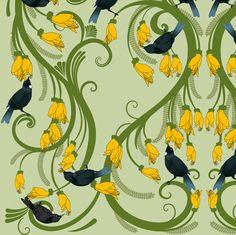 fabric by laurawood on Spoonflower - custom fabric Laura Wood, Bird Calls, Maori Art, Kiwiana, Bird Art, Beautiful Birds, Custom Fabric, Spoonflower, Printmaking