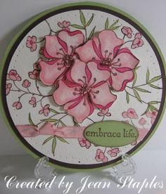 """One of my favourite flowers are Azaleas so I have to love this card. Must keep an eye out for SU """"Embrace Life"""" on E-Bay Asian Cards, Shaped Cards, Beautiful Handmade Cards, Love Cards, Greeting Cards Handmade, Design Crafts, Scrapbook Cards, Homemade Cards, Stampin Up Cards"""