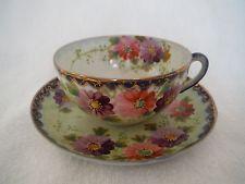Antique Nippon Hand Painted Flowers Cobalt Blue & Gold Trim Tea Cup & Saucer