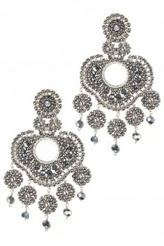 designed and handmade in new york, these sterling silver #chandelier #earrings are beaded with swarovski crystals, miyuki beads and faceted pyrite gems I NEWONE-SHOP.COM