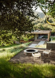 The concrete and steel fire pit is landscape architect Bernard Trainor's design, creating an outdoor living space for house by architects Sagan Piechota in California's Carmel Valley. Photograph by Joe Fletcher courtesy of Sagan Piechota Architecture. Landscape Architecture, Landscape Design, Architecture Design, Contemporary Landscape, Residential Architecture, Contemporary Architecture, Interior Tropical, Gazebo, Fire Pit Furniture