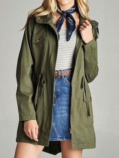 Lexi Hooded Cargo Jacket : Olive – Dash and Dare