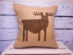 Moose/elk burlap pillow cover - child's elk/moose/reindeer pillow cover - rustic nursery - name can be added - Pillow Insert Sold Separately...