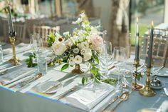 Romantic Rose Centerpieces and Brass Candlesticks