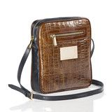 Love this shape! Cross Body Bag in Tan Mock Croc Leather and Navy Leather Beautiful Bags, Dean, Crocs, Cross Body, Crossbody Bag, Shoulder Bag, Handbags, Shape, Navy