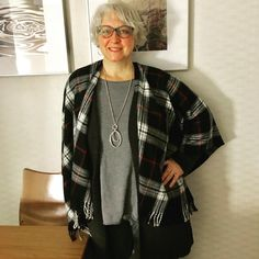 Today's travel outfit: grey tunic, charcoal long cardigan, and - because it was a balmy here… Blanket Shawl, Plaid Blanket, Air Dry Hair, Long Cardigan, Red Plaid, Charcoal, Black And Grey, Kimono Top, Bomber Jacket