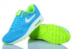 Kopen Hardloopschoenen Nike Air Max 1 Essential Dames Levendige Blauwe Elektrische Groen-Geel Groen Wit Ontwerpen