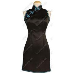 Mandarin Silk Mini Cheongsam ❤ liked on Polyvore featuring dresses, qipao dress, kohl dresses, mandarin dress, black mini dress and black dress