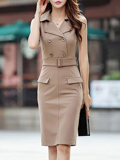 Midi Dresses,Orange,Casual,Sheath,Sleeveless,Slit,Summer,Nylon,Lapel,Non-stretchy,Daytime,Daily,Mid-weight,Midi