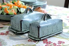 Covered Butter Dish with Lid  Rustic Aqua Mist  French