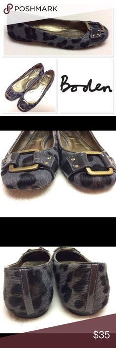38 BODEN grey animal print calf buckle hair flats Preloved but in good shape. Wear to leather soles as pictured, wear to insoles as pictured. Still lots of life left. Boden Shoes Flats & Loafers