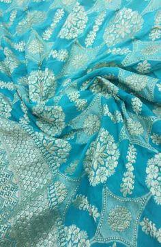 Shop online for Blue Handloom Banarasi Chiffon Georgette Saree