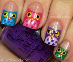 Owl Nail Art. I did the little owl base by using the same  technique I would for a half -moon mani. My bases are: Jade is the New Black, Funkey Dunky, Pink Flamenco and Shower Together. For the Bellies I used   : Ancient Jade, Haze, Sparrow me the Drama and Yummy