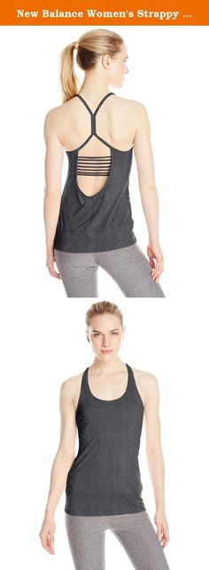 New Balance Women's Strappy Cami Top, Small, Black Heather. The New Balance Strappy Cami shows that comfort can be sexy. The recycled poly/Spandex blend keeps its shape as you move. While the banded hem and flat lock seams help you stay comfortable even as you ease into the crane. A built-in bra with an exposed band and strappy open back let you show off a little skin.
