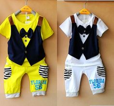 ücretsiz gemi moda sahte yelek, kısa kollu t-shirt + pantolon yay 2 renk fits2-5 yıl pamuk çocuklar bebek erkek çocuk setleri