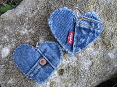 Earrings - Heart Shaped Recycled Levis Denim - Big and Bold - Upcycled - Classic America Earrings - Heart Shaped Recycled Levis Denim - Big and Bold - Upcycled - Classic America Jean Crafts, Denim Crafts, Fabric Hearts, Fabric Flowers, Sewing Crafts, Sewing Projects, Denim Earrings, Jeans Denim, Denim Skirt