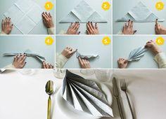 Übersicht - Anleitung Servietten falten Blatt