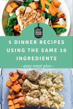 This simple meal plan uses the same 10 ingredients to create 5 weeknight dinner recipes. If you hate purchasing a large number of ingredients each week, this meal plan is for you! This plan not only keeps your grocery list short but can help to reduce food waste. #mealplan #mealplanning #healthyrecipe #recipe #dinner #easydinner Easy Meal Plans, Easy Meals, Food Waste, Recipe Using, Meal Planning, Hate, Dinner Recipes, Healthy Recipes, Number